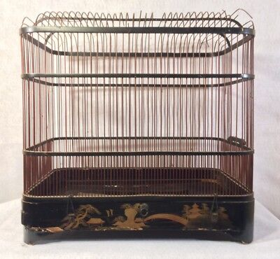 Gorgeous Wood Birdcage Old Antique Bird Cage Tray Metal Painted Decorative
