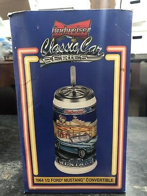 2000 Budweiser 1964 1/2 Ford Mustang Stein Classic Car Series Numbered Coa & Box