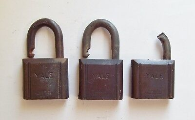 Lot of 3 Vtg Yale Brass Padlocks for Parts, Repair, Art - Old Antique, Steampunk