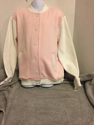 Forever 21 Girls Jacket Size 9/10 Pink White Mermaid Crew Sport Coat Pretty