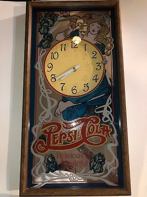 vintage pepsi-cola mirrored wall clock