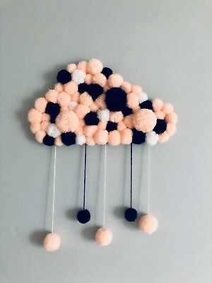 """Handmade Pom Pom Cloud """"Beyond The Clouds There's Always Sun"""""""