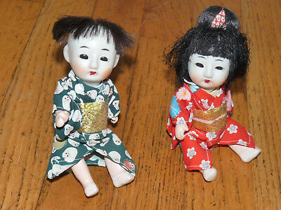 "Older Japanese Pair Of ""sleeper"" Dolls. Boy & Girl.  6 Inch Beautiful Condition"