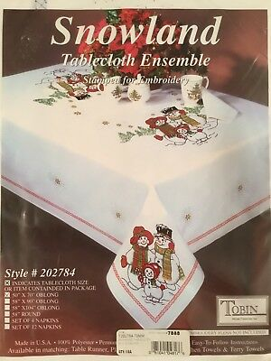 Tobin Stamped Embroidery Tablecloth Snowland Snow Family 50 x 70 Oblong