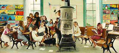 Postcard Norman Rockwell Visits a Country School 1946 Art