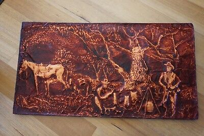 Hammered copper wall art.