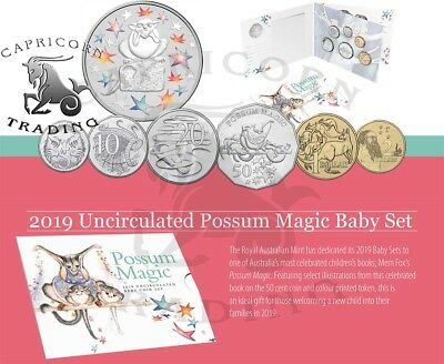 2019 Australian Baby Uncirculated Year Set Possum Magic with Unique 50c Coin.