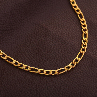 Men's 18K Gold filled Solid Color Hip Hop Cuban Chain Necklace Jewelry