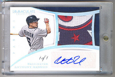 2015 Immaculate Collection ANTHONY RENDON Game Used NASTY Logo Patch Auto 1/1 !!