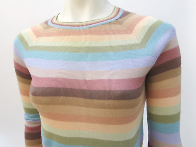 Vtg 70s 80s Striped Pullover Sweater Skinny Fit Thin Soft Fall Top Boho S/M