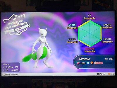 Shiny Mewtwo 6 IV - Pokemon Lets Go (Timid)