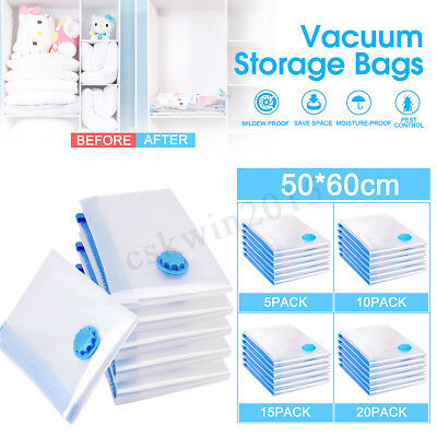 20PC Vacuum Storage Bag Space Saving Anti Pest Clothes Quilts Organizer Dorm Lot