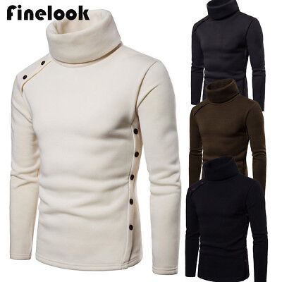 US Men's High Collar Sweater Turtleneck Long Sleeve Stretch Jumper Shirts Tops