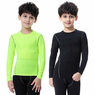 Warm Kids Boy Girl Compression Thermal Sports T-Shirt Kids Base Layer Skins Tee