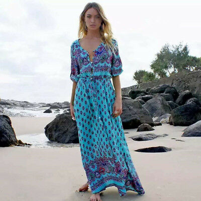 Women Summer Plus Size Boho Floral Sundress Holiday Beach Party Long Maxi Dress