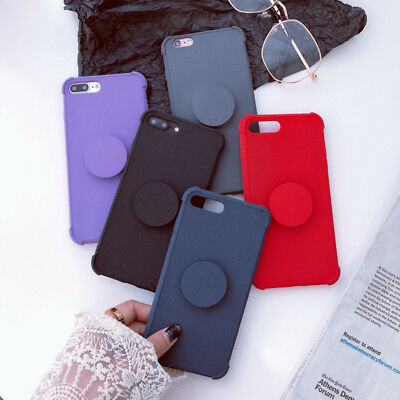 Soft TPU Matte Phone Case Cover Shell For iPhone XS Max 8 7 6 With POP Up Holder