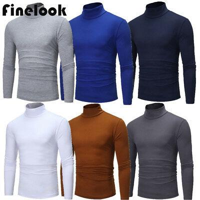 US Men Long Sleeve Pullover High Neck Turtleneck Stretch Slim Basic T Shirt Top