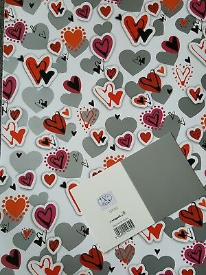 2 Sheets Of Thick Glossy Valentines Day Hearts Wrapping Paper + Silver Gift Tag
