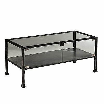 Cct06988 Metal / Glass Display Cocktail Table With 2 Doors