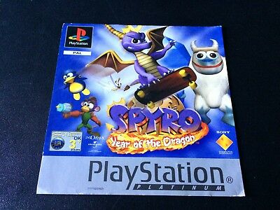 Spyro Year of the Dragon Platinum Insert Front Only Sony PlayStation PS1