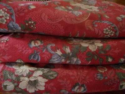 Antique French Large Cotton Weave Panel,Fully Lined Roses Design