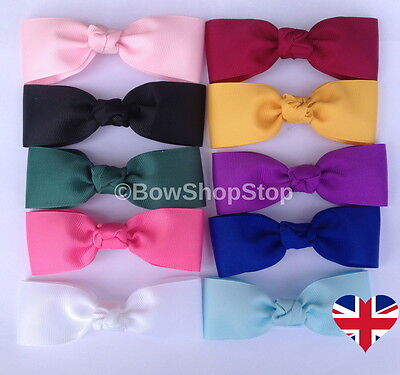 4 inch Grosgrain Ribbon Plain Hair Bow Alligator Clip School Girl Child