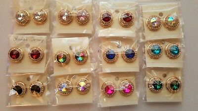 Joblot 12 Pairs Gold colour metal round Diamante Crystal clip on Earrings - New