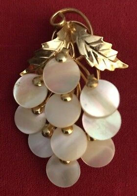 Vintage Mother Of Pearl Grapes Pin/brooch Goldtone