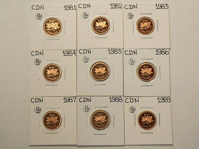 1981 to 1989 Canada Proof Cents Date Set Lot of 9 #G541