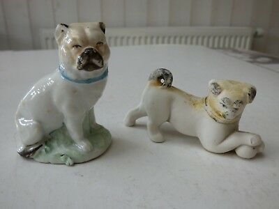 STATUETTE CHIEN PORCELAINE BISCUIT EMAILLE ( lot de 2 )