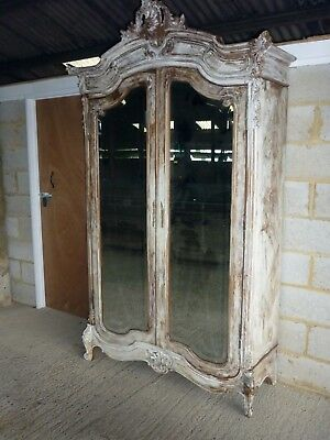 Stunning Antique French Rococo Carved White Walnut Armoire Wardrobe with drawer