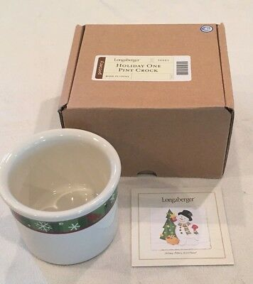 Longaberger Holiday One Pint Crock Item #30001 Red & Green Trim w/ Snowflakes