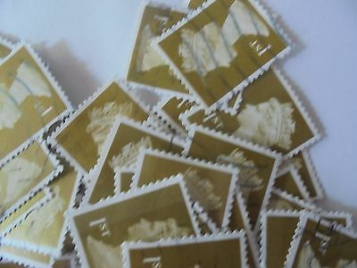 1000 x  1st GB Stamps -  Olive  - Plain  - Used - Franked - Off Paper
