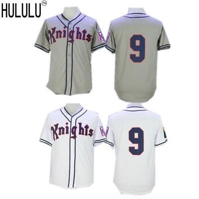 Roy Hobbs #9 New York Knights Stitched Men Throwback Baseball Jersey Grey White