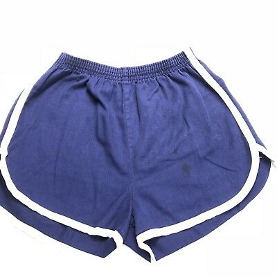 Vintage Gym Shorts High Waist Short Shorts Shorties Booty USA Blue