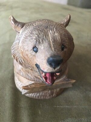 Victorian Carved Black Forest Wood Bear Inkwell c. 1900