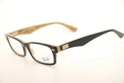 a6410f2a6e0 New Authentic Ray Ban RB 5206 5131 Blue on Beige Horn 52mm Frames  Eyeglasses RX