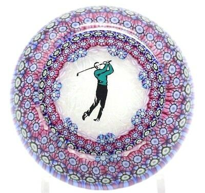 Beautiful PERTHSHIRE Millefiori Canes GOLFER Art Glass PAPERWEIGHT Golf Sport