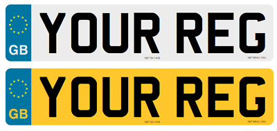 quality Standard pair GB Euro Number Plates 100% MOT Compliant free fitting kit