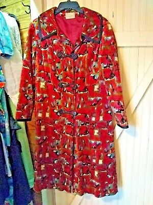 VTG 1960 BROCADE Carpet TaPeStrY  HiPPiE BoHo JEWEL TONES Coat FRANCIE  M 38