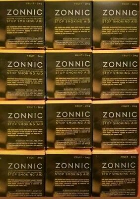 12 ZONNIC 2MG Fruit Nicotine Gum stop smoking aid 10 pcs ea EXP 06/2018