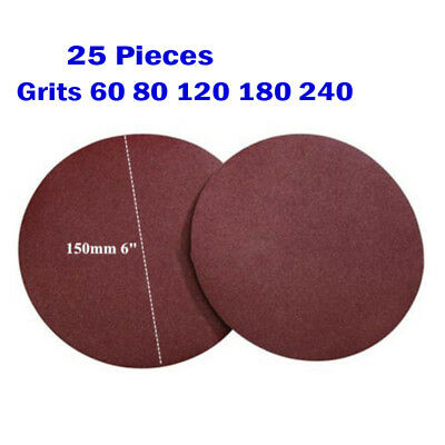 "Sand Scheiben Sanding Disc Hook Loop Sandpaper 150mm 6"" Grits 240 180 120 80 60"