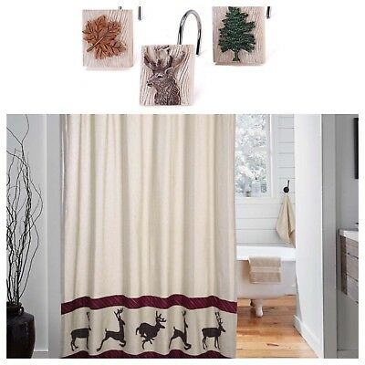 Wyatt Deer Shower Curtain Set W Hooks 72X72 Cabin Rustic By VHC