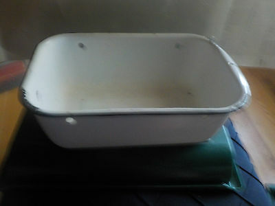 """Enamelware White With Black Trim Ice Box Tray Size 12  By 8 By 4"""" Vintage No Lid"""