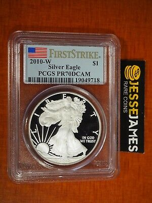 2010 W Proof Silver Eagle Pcgs Pr70 Dcam Flag First Strike Label