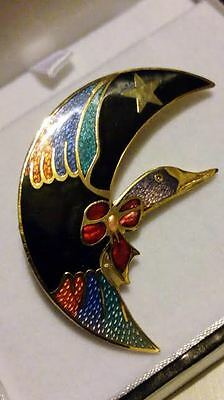 Genuine Cloisonné Hand Crafted MULTICOLOURED Enamel GOOSE & CRESCENTMOON Brooch