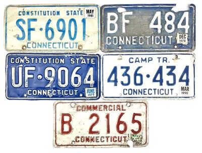 LOT OF 5 1970s 1980s Connecticut License Plate Roadkill Pass. Camper Commercial