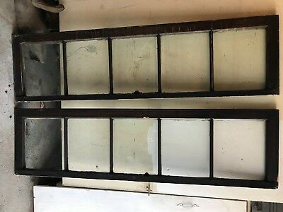 "2 SHABBY COTTAGE 64 x 17"" ANTIQUE 5 LITE PANE GLASS WOOD MULLION TRANSOM WINDOW"