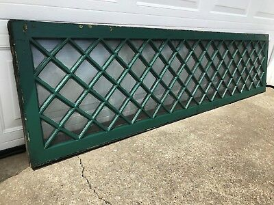 "SHABBY COTTAGE 86 x 21"" ANTIQUE 101 LITE PANE GLASS WOOD MULLION TRANSOM WINDOW"