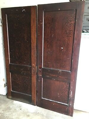 "2 ANTIQUE 2 FLAT PANEL PINE WOOD SLIDING BARN INTERIOR DOOR 30""x 79"" PICKUP"
